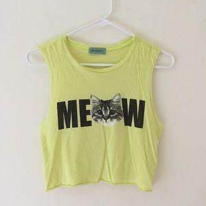 Neon Meow Crop Tank Top